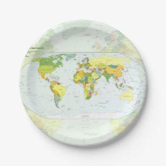 Países del atlas del globo del mapa del mundo plato de papel de 7 pulgadas