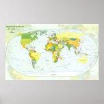 Países del atlas del globo del mapa del mundo póster