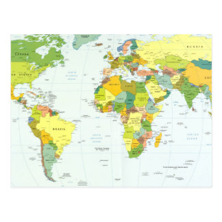 Países del atlas del globo del mapa del mundo postal