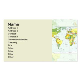 Países del atlas del globo del mapa del mundo tarjetas de visita