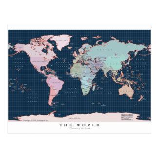 Países del mapa del mundo tarjeta postal