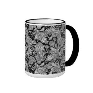 Paisley adornada negra y blanca 2 taza de dos colores