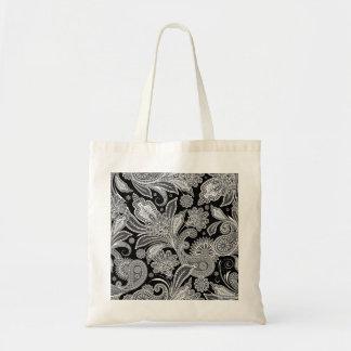 Paisley adornada negra y blanca bolsa