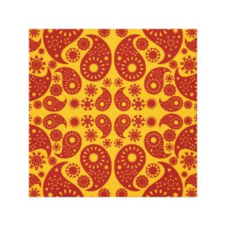 Paisley amarilla y rojo oscuro ambarina impresiones en lienzo estiradas