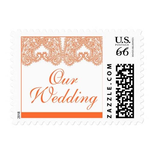 Paisley anaranjada nuestros sellos del boda