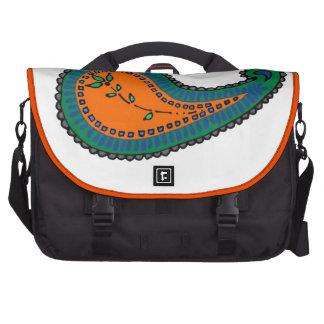 Paisley anaranjada y azul bolsa para ordenador