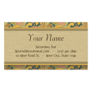Paisley and Fan Flowers with Monogram Business Card Template