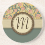 Paisley and Fan Flowers with Monogram Beverage Coaster
