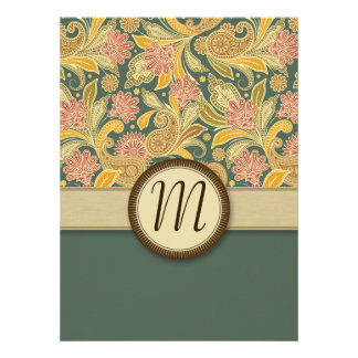 Paisley and Fan Flowers with Monogram Personalized Invite