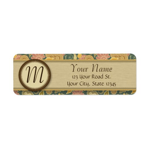 Paisley and Fan Flowers with Monogram Custom Return Address Label
