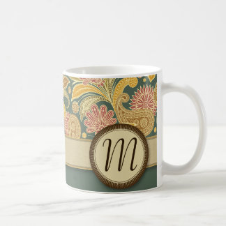 Paisley and Fan Flowers with Monogram Coffee Mug