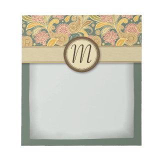 Paisley and Fan Flowers with Monogram Notepad