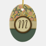 Paisley and Fan Flowers with Monogram Christmas Ornaments