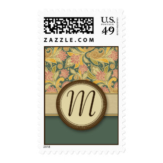 Paisley and Fan Flowers with Monogram Postage Stamp