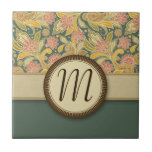 Paisley and Fan Flowers with Monogram Small Square Tile