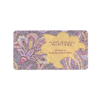 Paisley and flower pattern address label