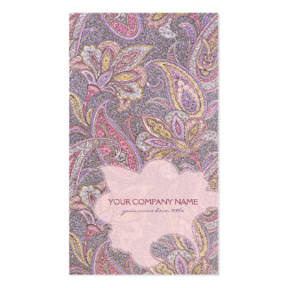 Paisley and flower pattern business card template