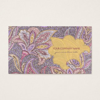 Paisley and flower pattern business card