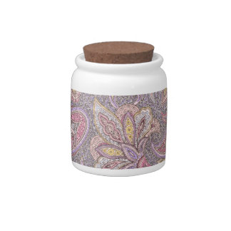 Paisley and flower pattern candy jar