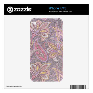 Paisley and flower pattern iPhone 4 decals