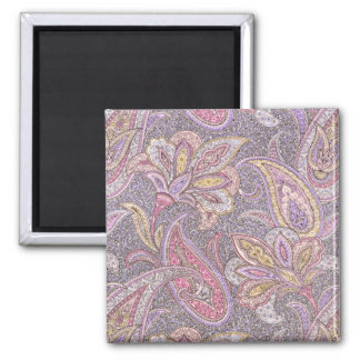Paisley and flower pattern 2 inch square magnet
