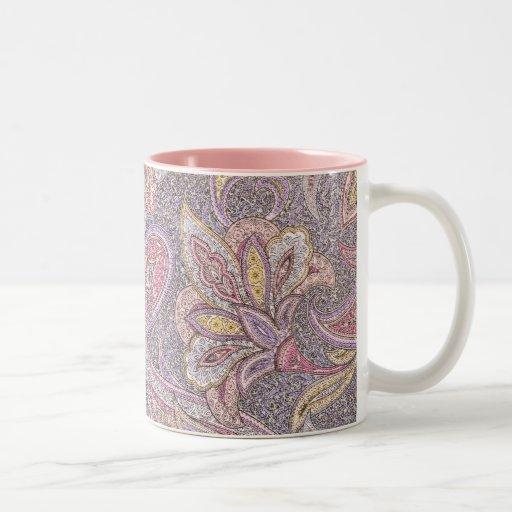Paisley and flower pattern coffee mug