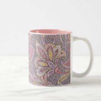 Paisley and flower pattern Two-Tone coffee mug