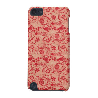 Paisley and Flowers Pattern in Red and Peach iPod Touch 5G Cases