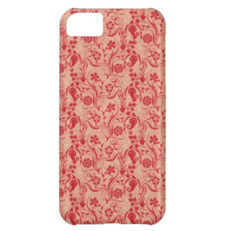 Paisley and Flowers Pattern in Red and Peach Cover For iPhone 5C