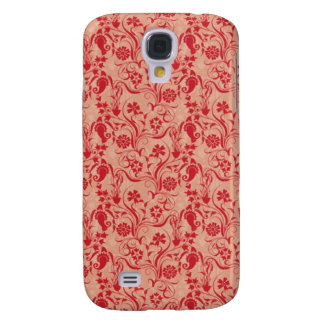 Paisley and Flowers Pern in Red and Peach Galaxy S4 Case