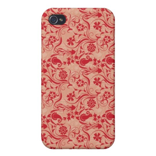 Paisley and Flowers Pern in Red and Peach iPhone 4/4S Cover