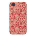 Paisley and Flowers Pern in Red and Peach iPhone 4 Case