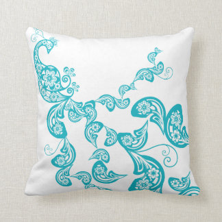 Paisley Art Deco Peacock Turquoise Blue Pillow