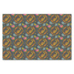 Paisley Autumn Leaves Turquoise Orange Pattern Tissue Paper