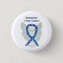 Paisley Awareness Ribbon Angel Custom Button Pins