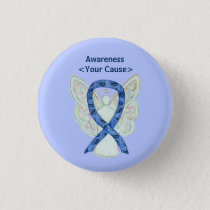 Paisley Awareness Ribbon Angel Custom Pin Buttons