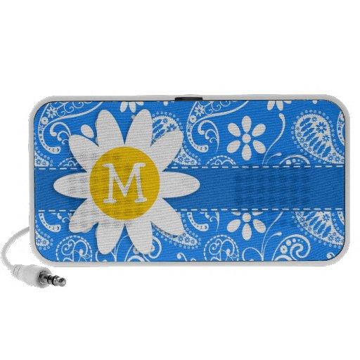 Paisley azul azul; Floral; Margarita Altavoz De Viaje
