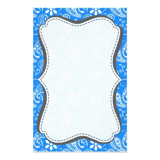 Paisley azul azul; Floral Papelería Personalizada