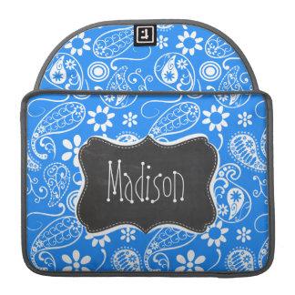 Paisley azul azul; Floral; Pizarra Funda Macbook Pro