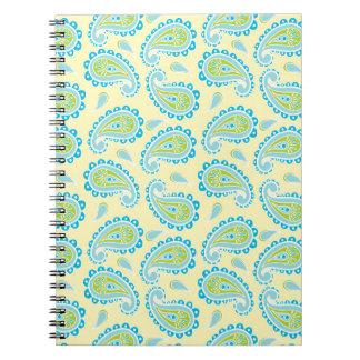 Paisley azul en amarillo libreta espiral