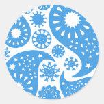 Paisley azul etiqueta redonda