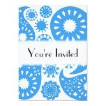 Paisley azul invitaciones personalizada