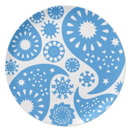 Paisley azul platos para fiestas