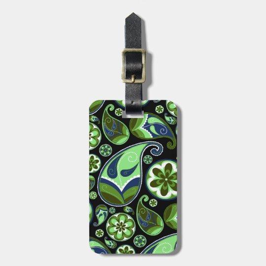 Paisley azul y verde en negro etiquetas para maletas