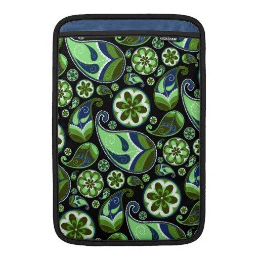 Paisley azul y verde en negro fundas para macbook air