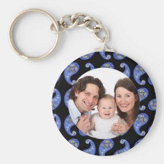 Paisley Basic Round Button Keychain