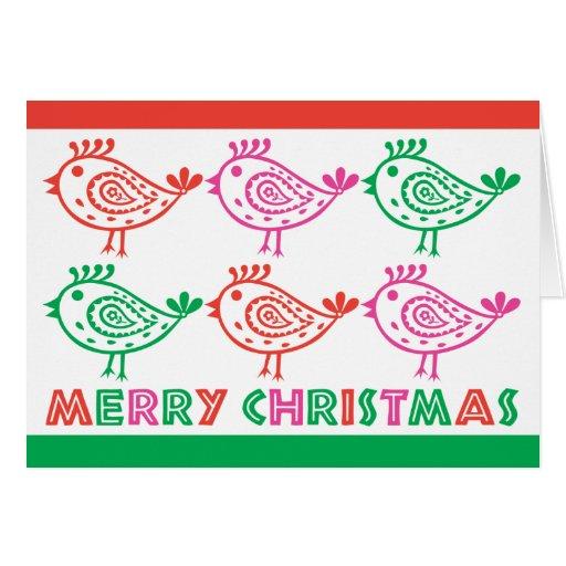 Paisley Birds Christmas Card