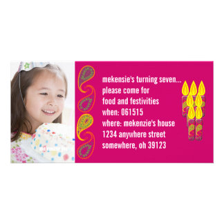 Paisley Birthdy Photo Invitation Custom Photo Card