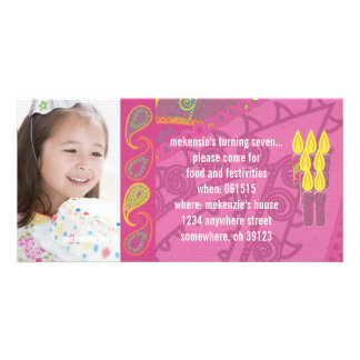 Paisley Birthdy Photo Invitation Personalized Photo Card
