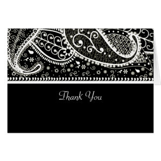 Paisley Bl. & Wh. Thank You Card